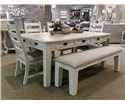 Vintage Joanna Dining Leg Table, 4 Side Chairs & Bench - Item Number: GRP-JOANNA-TBL-5