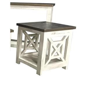 Square Two Toned End Table