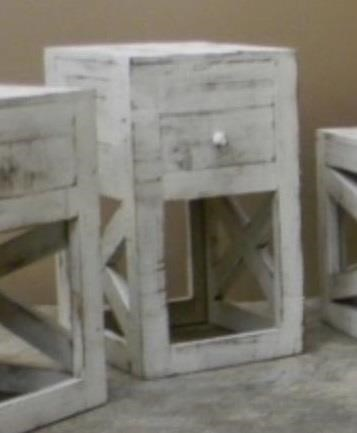 Cross Chairside Table in Nero White