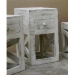 Vintage Occasional Tables Cross Chairside Table in Nero White