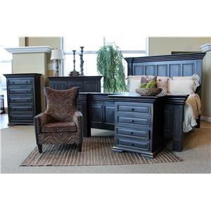 Vintage Wyoming Black Queen Bed, Dresser, Mirror & Nightstan