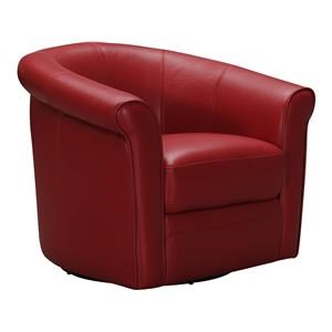 Violino 1100A Leather Swivel Roll Arm Chair (Red)