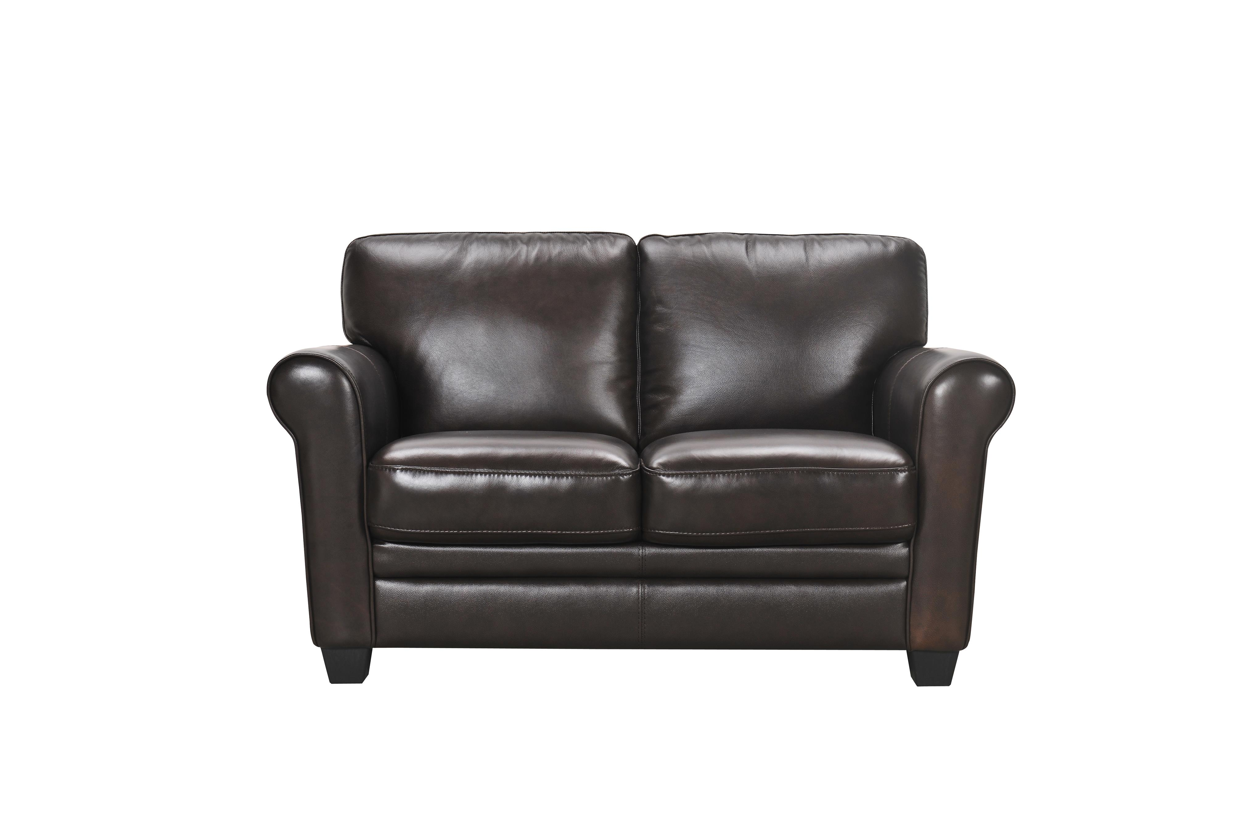 30960 Leather Loveseat with Rolled Arms by Violino at Dunk & Bright Furniture