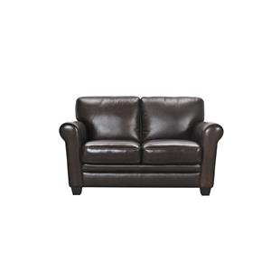 Violino 30960 Leather Loveseat with Rolled Arms