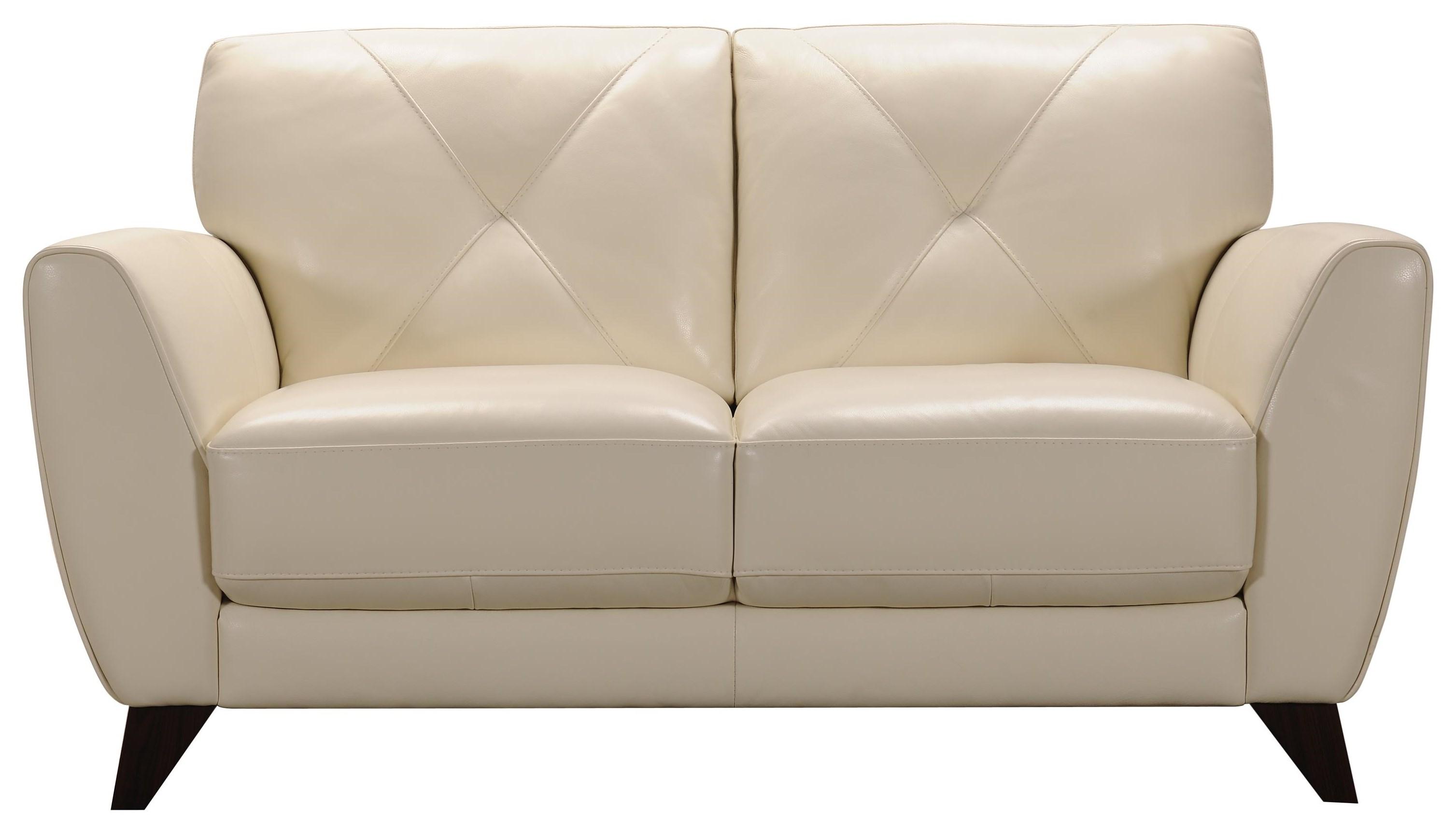 Ivory Leather Loveseat