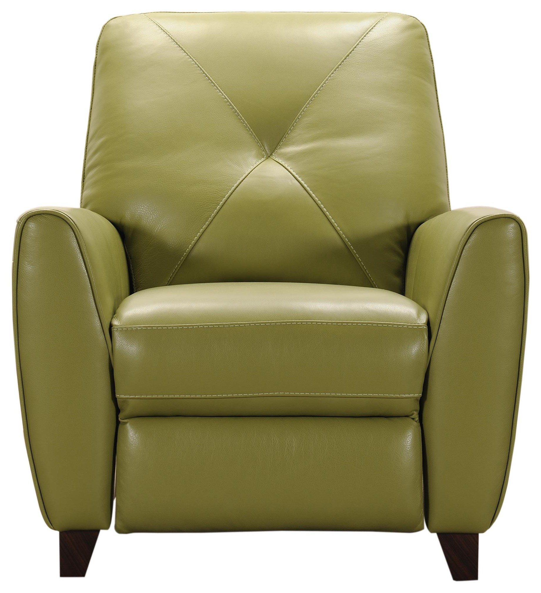 Green Leather Push Back Recliner
