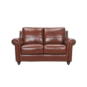 Violino Grady Leather Loveseat with Rolled Arms and Turned
