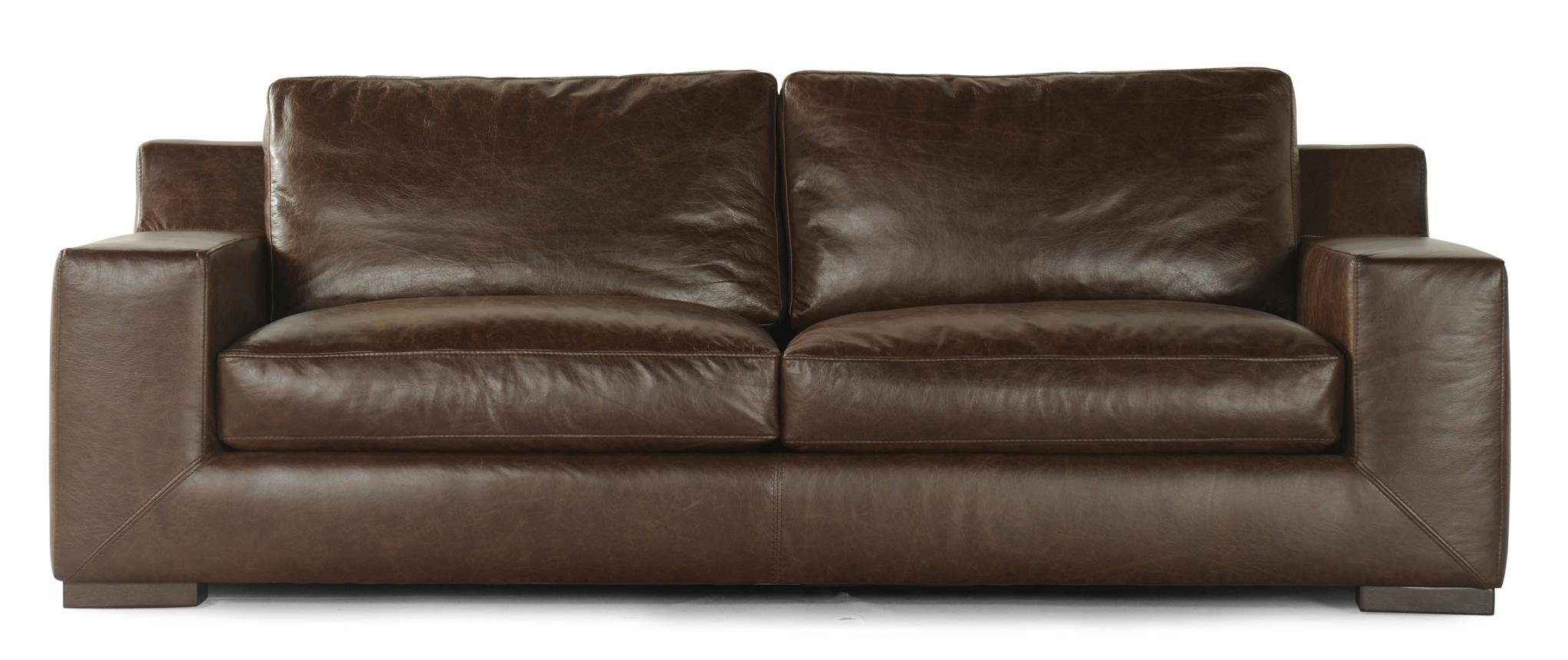 Violino 3531 Leather Sofa With Track Arms And Short Block Feet