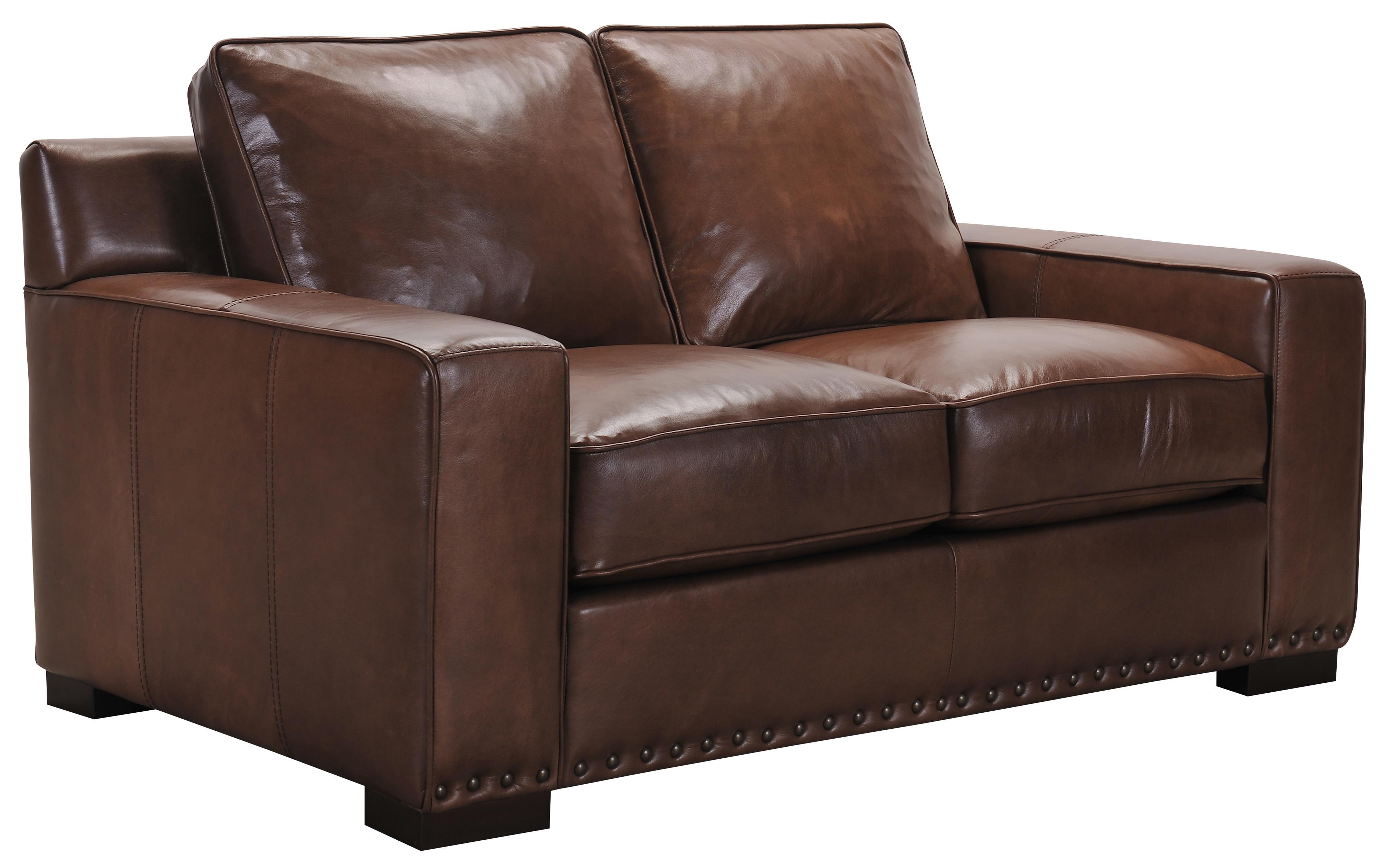 Belfort Select Patrick Brown Leather Love Seat - Item Number: 3584-2P
