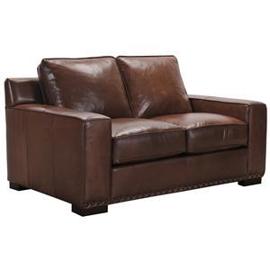 Belfort Select Patrick Brown Leather Love Seat