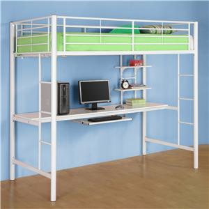 Walker Edison Bedroom Metal Twin/Workstation Loft Bed