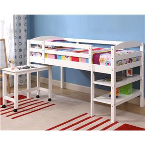 Walker Edison Bedroom Twin Wood Loft Bed w/ Desk and Shelf