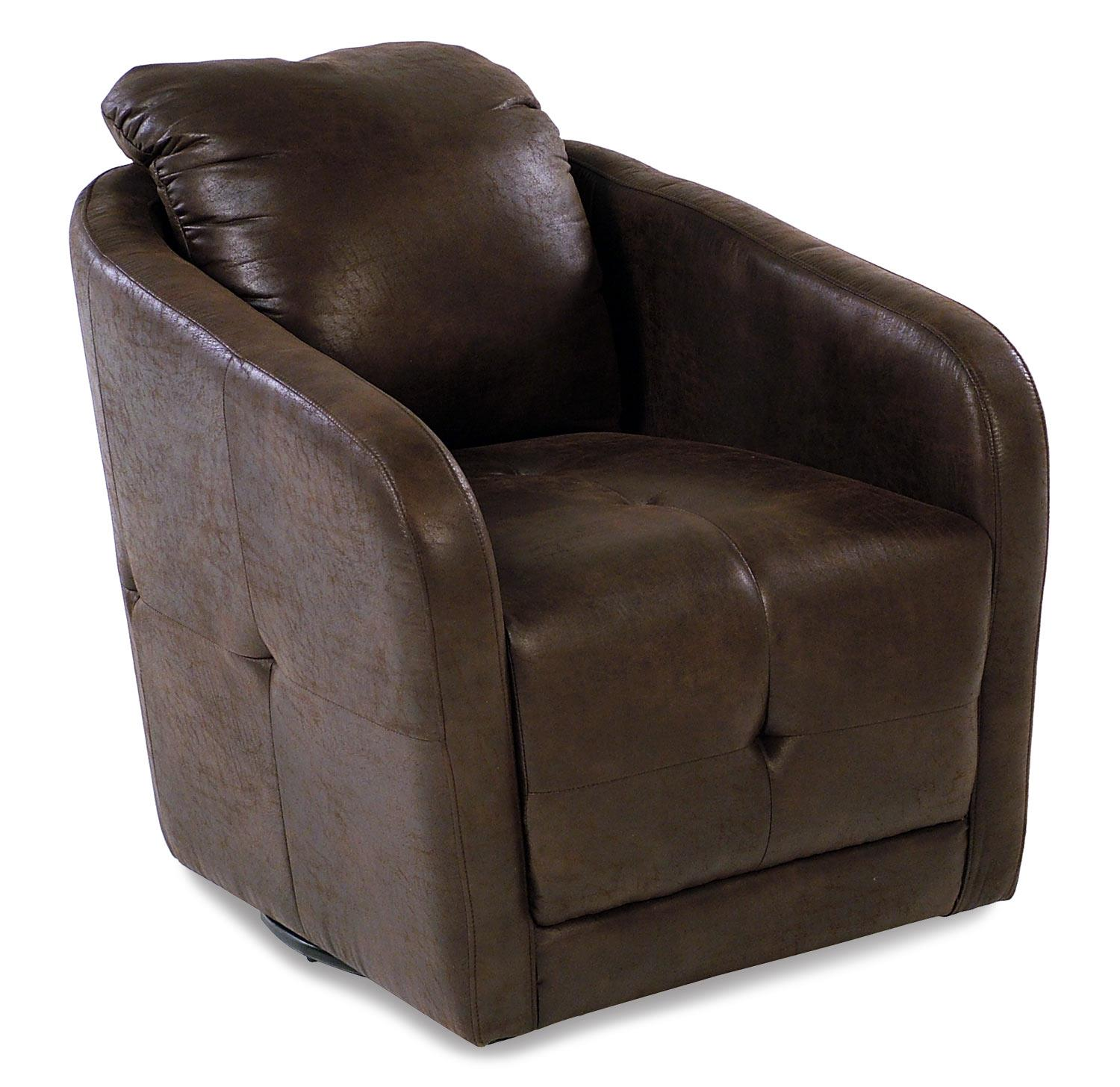Madison Manor Accent Chairs Swivel Chair w/ Tuft Stitching - Item Number: AV-BRNFX