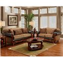 Washington Furniture 1030 Radar Mocha Traditional Two-Tone Rolled Arm Sofa with Wood Trim - Shown with Loveseat