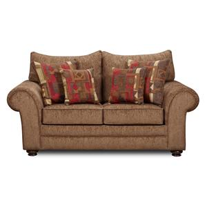 Washington Furniture 1120 Casual Love Seat with Rolled Arms