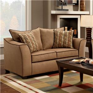 Washington Furniture 1160 Upholstered Stationary Loveseat with Flared Arms