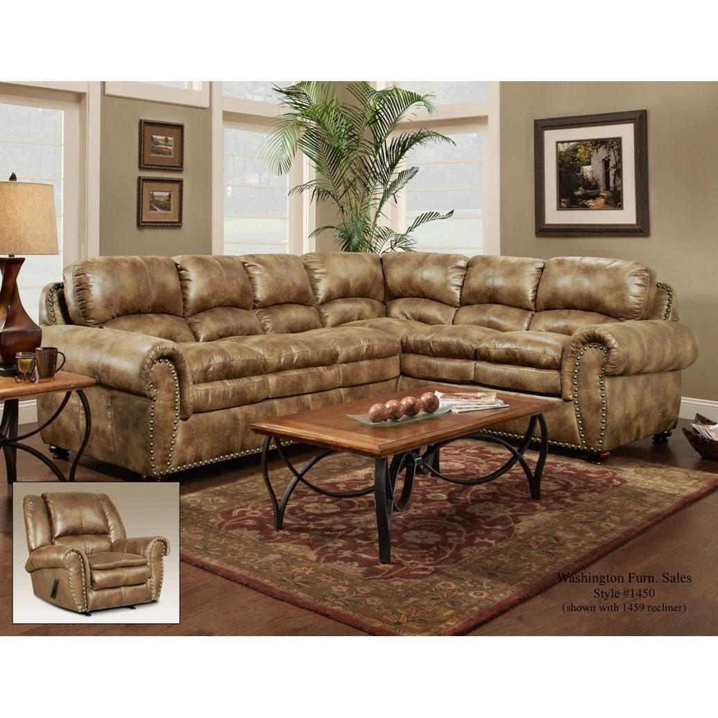 Washington Furniture 1450 Washington Traditional 6 Seat Sectional With Nailhead Trim Del Sol