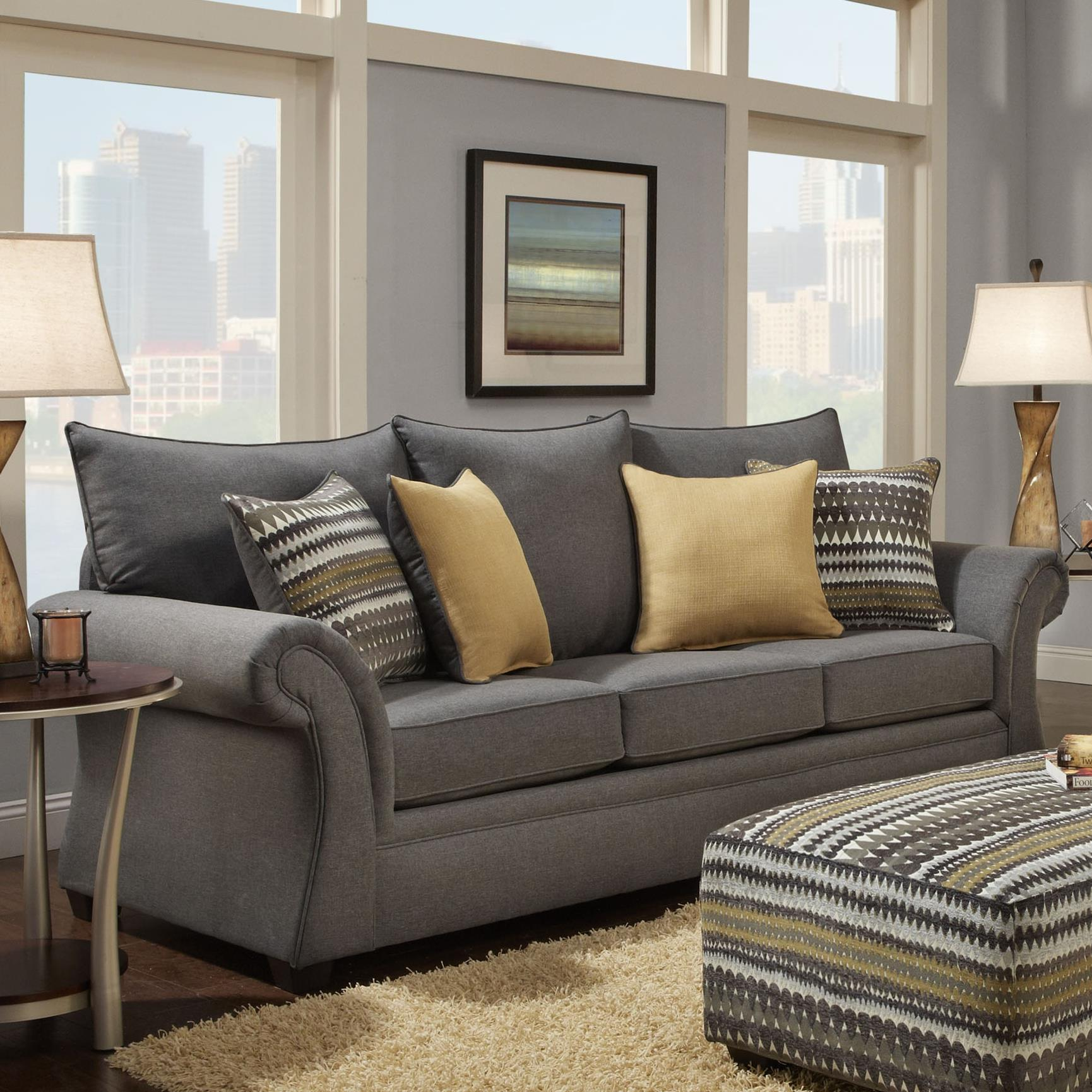Washington Furniture 1560 Sofa - Item Number: 1562-750 Jitterbug Gray