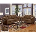 Washington Furniture 2000 Three-Seat Stationary Sofa with Flared Arms - Shown with Loveseat