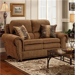 Washington Furniture 3400  Loveseat with Rolled Arms