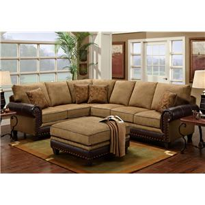 Washington Furniture 4030 2 Piece Sectional with Nail Head Trim