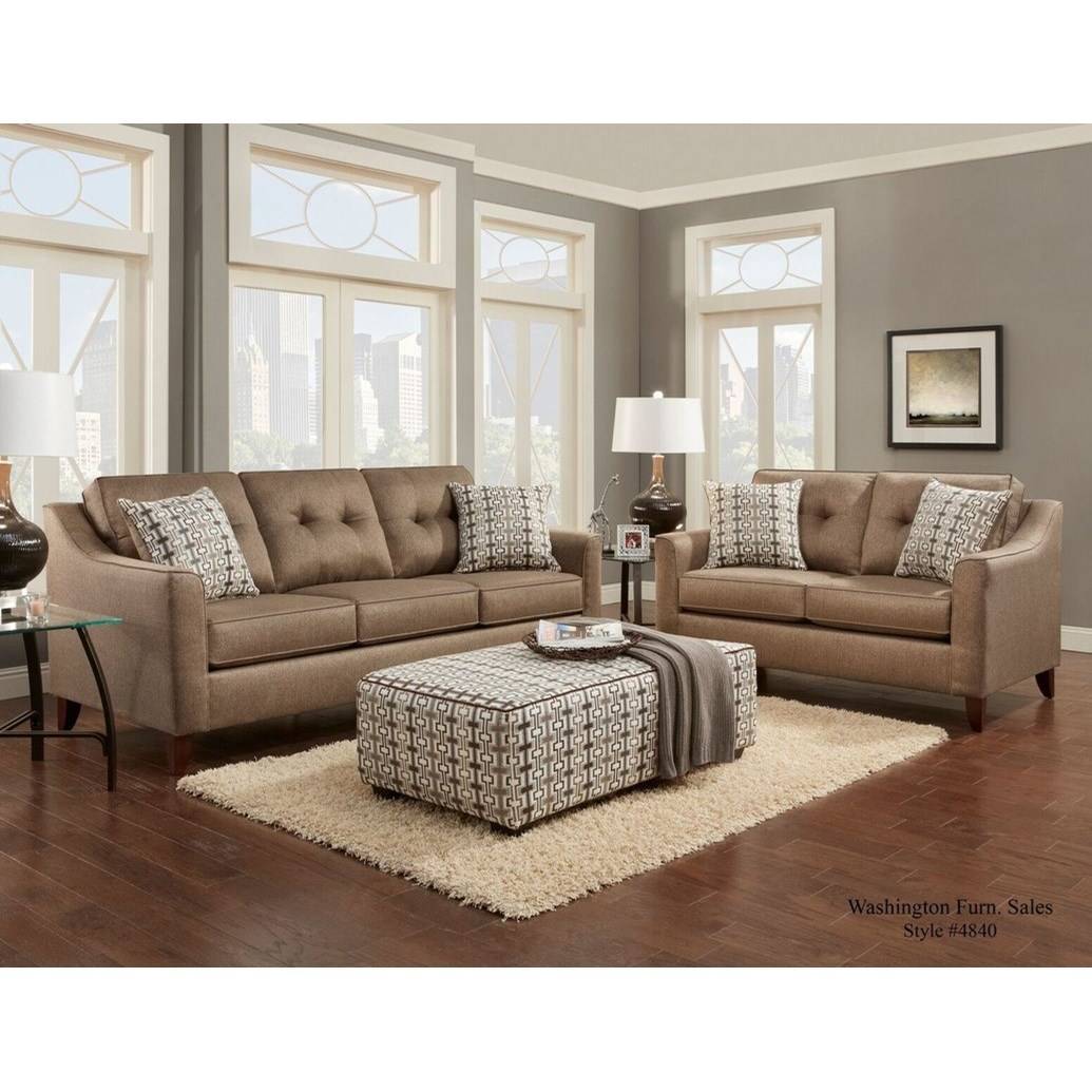 Washington Furniture 4840 4842 332 Contemporary Love Seat With Curved Track Arms Del Sol