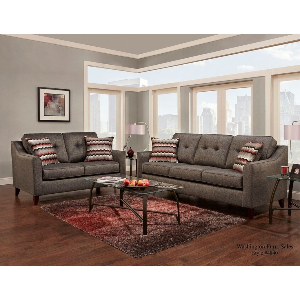 Washington Furniture 4840 Contemporary Sofa With Curved Track Arms Pedigo Furniture Sofas
