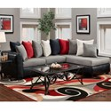 Washington Furniture 6700 Sectional with RSF Chaise - Item Number: 6707+08-392-BLK