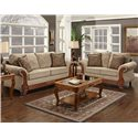 Washington Furniture 7000 Traditional Love Seat with Exposed Wood Accents - Shown with Sofa