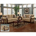 Washington Furniture 8100 Washington Traditional Love Seat with Exposed Wood Trim