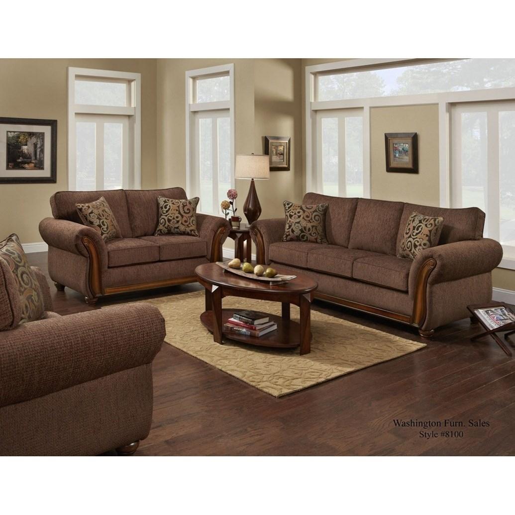 Washington Furniture 8100 Washington 8103 223 Traditional Sofa With Exposed Wood Arms Del Sol