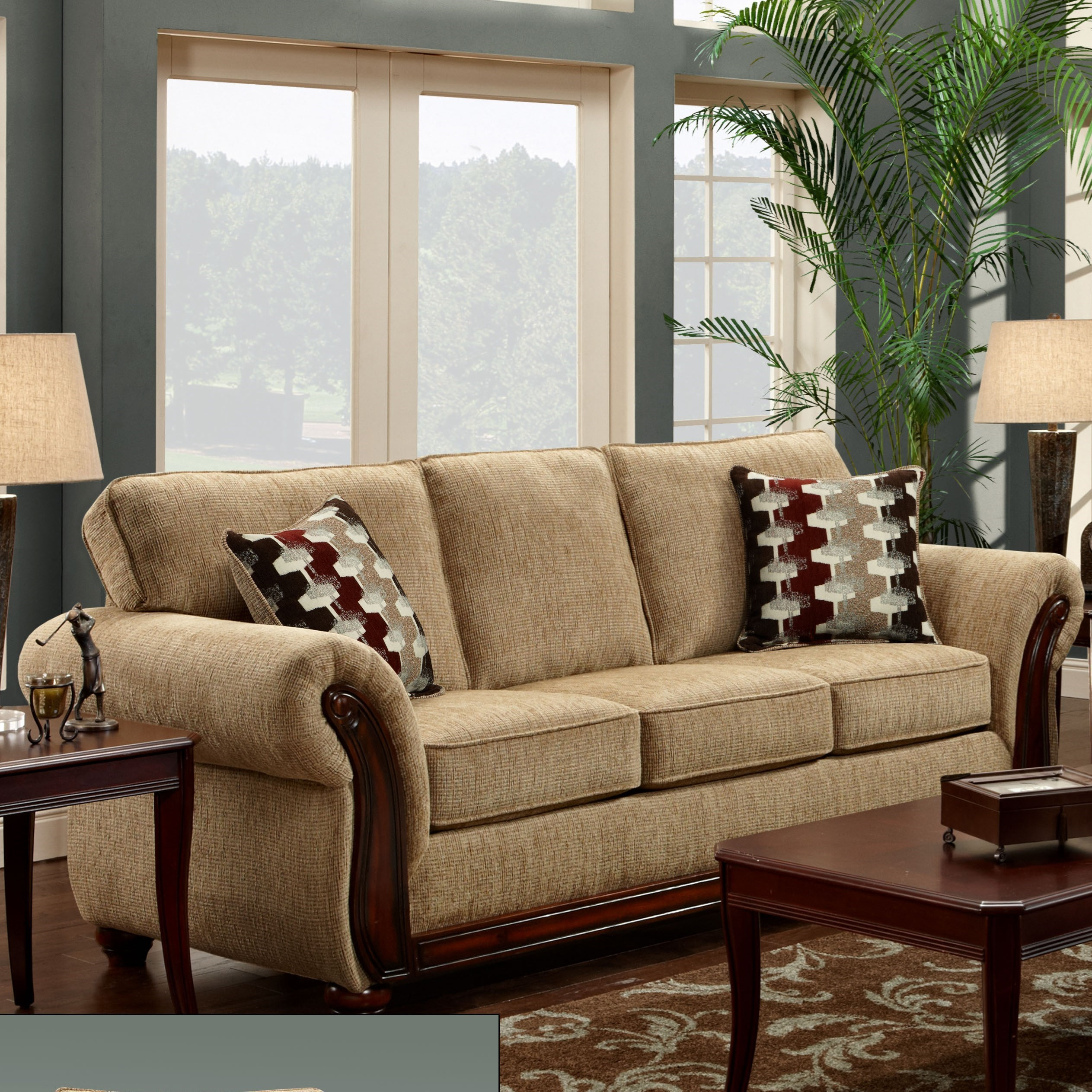 Washington Furniture 8100 Washington 8103 440 Traditional Sofa With Exposed Wood Arms Del Sol
