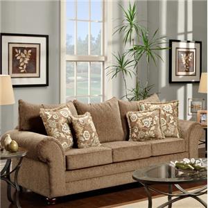 Maya Bark Casual Beige Rolled Arm Sofa by Washington Furniture