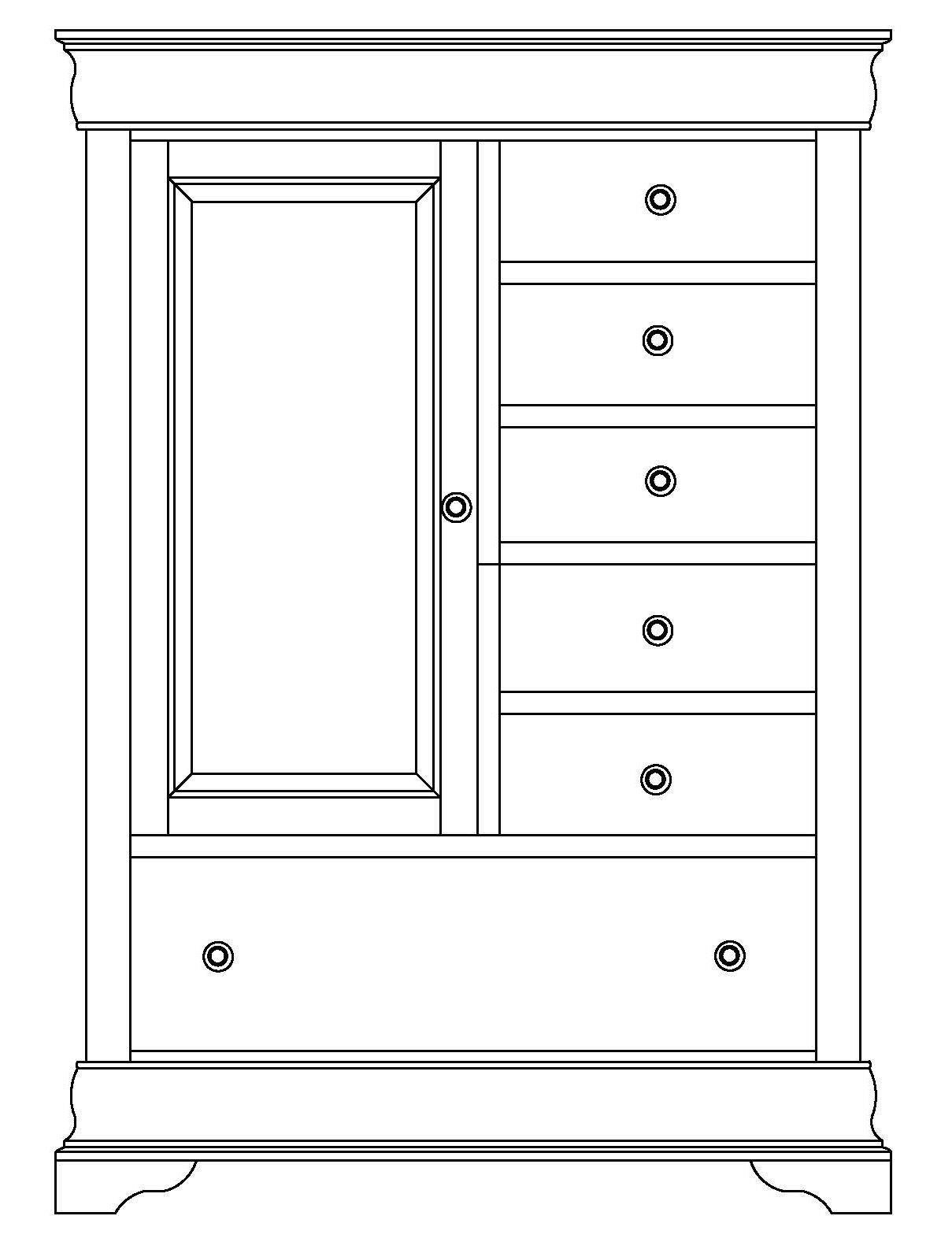 Armoire 1 Door, 6 Drawers