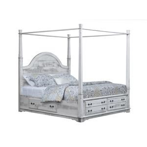 King Poster Bed With 3-Sided Storage