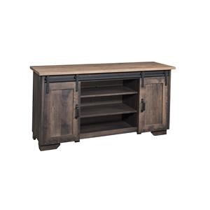 "Wayside Custom Furniture Solid Wood TV Stands 62"" Barn Door TV Stand"