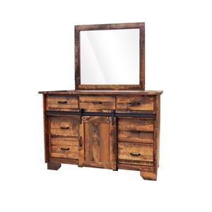 Wayside Custom Furniture Bear Creek 7 Drawer Barn Door Dresser & Mirror