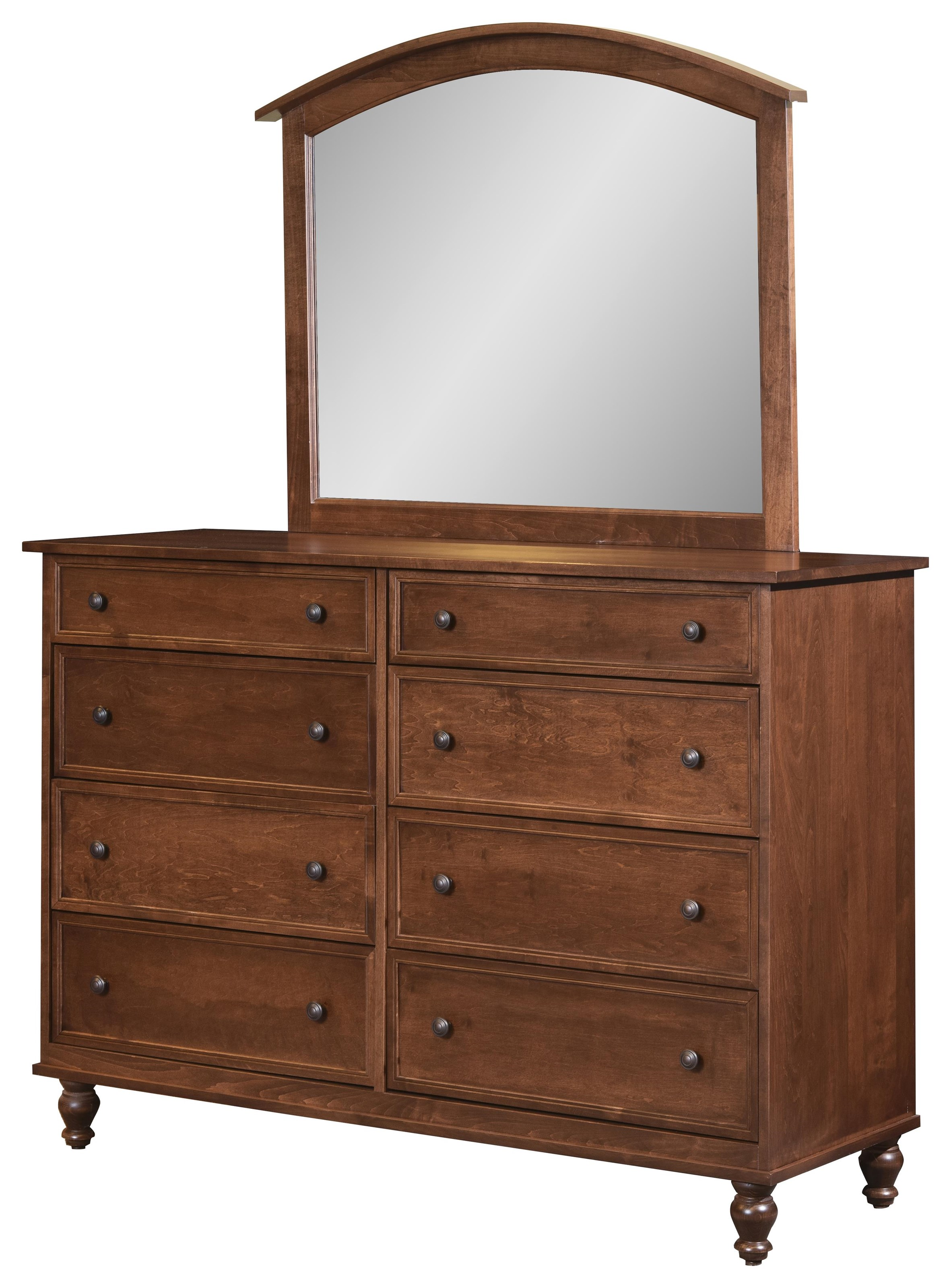 Wayside Custom Furniture Newport 8 Drawer Mule Dresser & Mirror - Item Number: 1029X-10166X