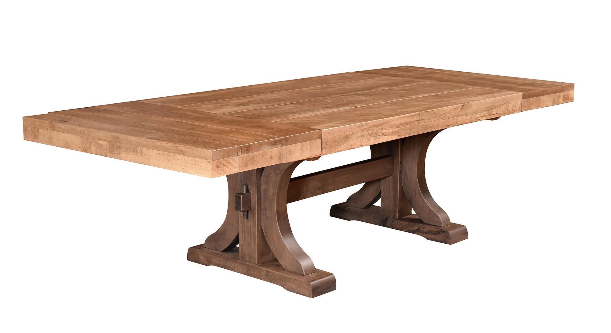 Wayside Custom Furniture RuffSawn Rustic Carlisle Trestle Table   Item  Number: 1