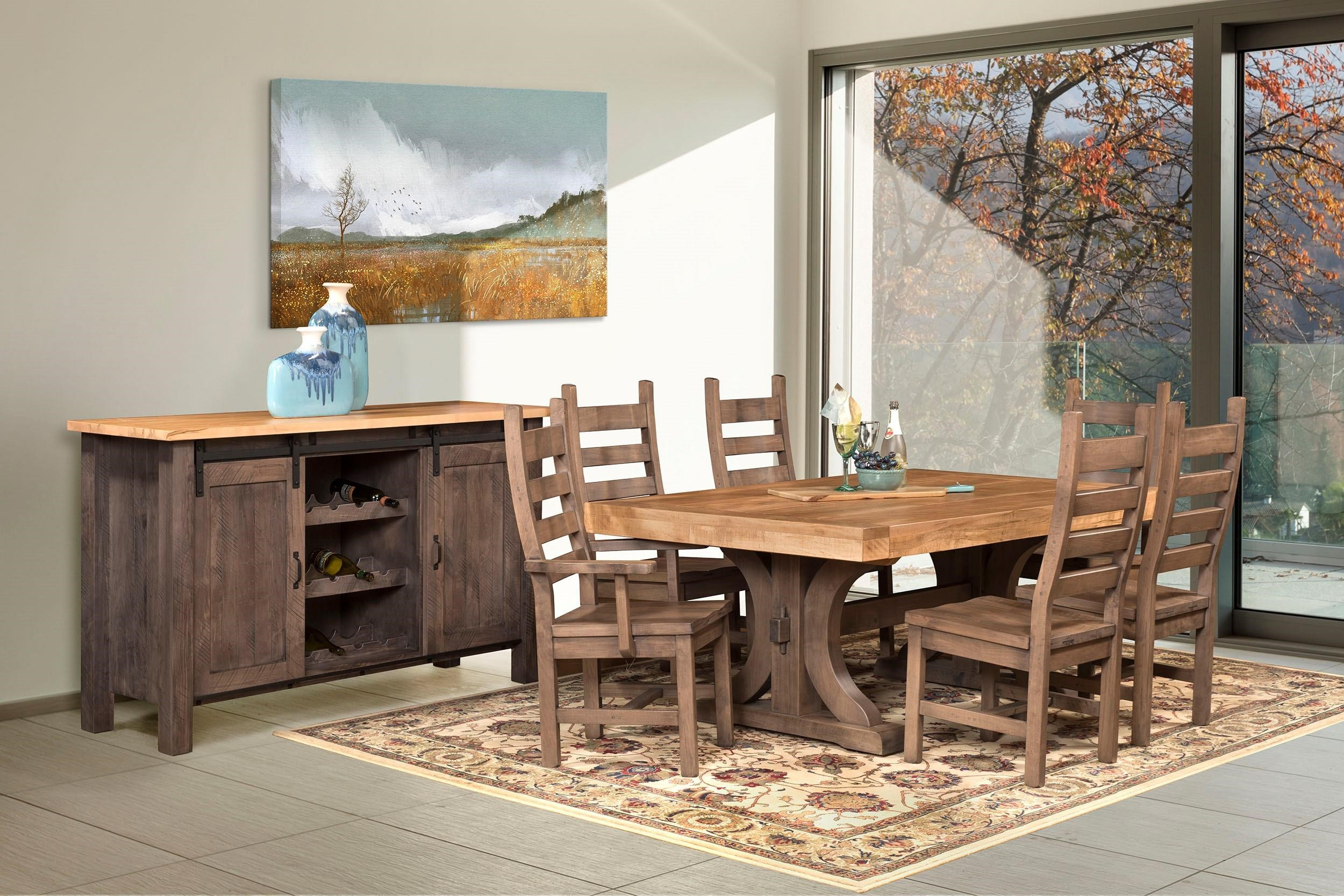 Wayside Custom Furniture RuffSawn Rustic Carlisle Dining
