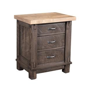 Wayside Custom Furniture Timber Bedroom 3 Drawer Nightstand