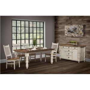 Wayside Custom Furniture Farmhouse 6pc Dining Room Group