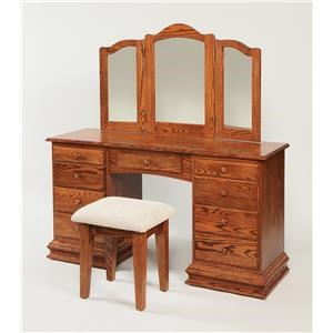Wayside Custom Furniture Dressing Tables Clockbase Vanity & Mirror