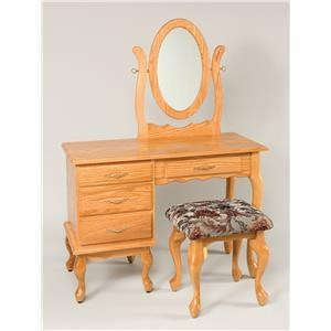 Wayside Custom Furniture Dressing Tables Queen Anne Vanity & Mirror