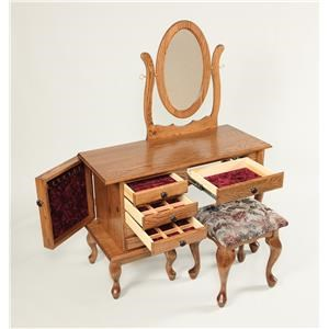 Wayside Custom Furniture Dressing Tables Queen Anne Jewelry Vanity & Mirror