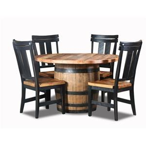 Wayside Custom Furniture Whiskey Barrel 5pc Whiskey Barrel Dinette