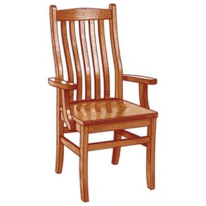 Weaver Woodcraft Custom Amish Dining Lincoln Arm Chair