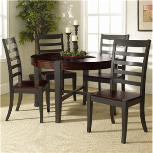 Ovation 5 PC Round Table with 4 Ladder Back Chairs in a Espresso and Black Finish by Welton USA