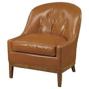 Upholstered Barrel Back Chair With Exposed Wood Legs