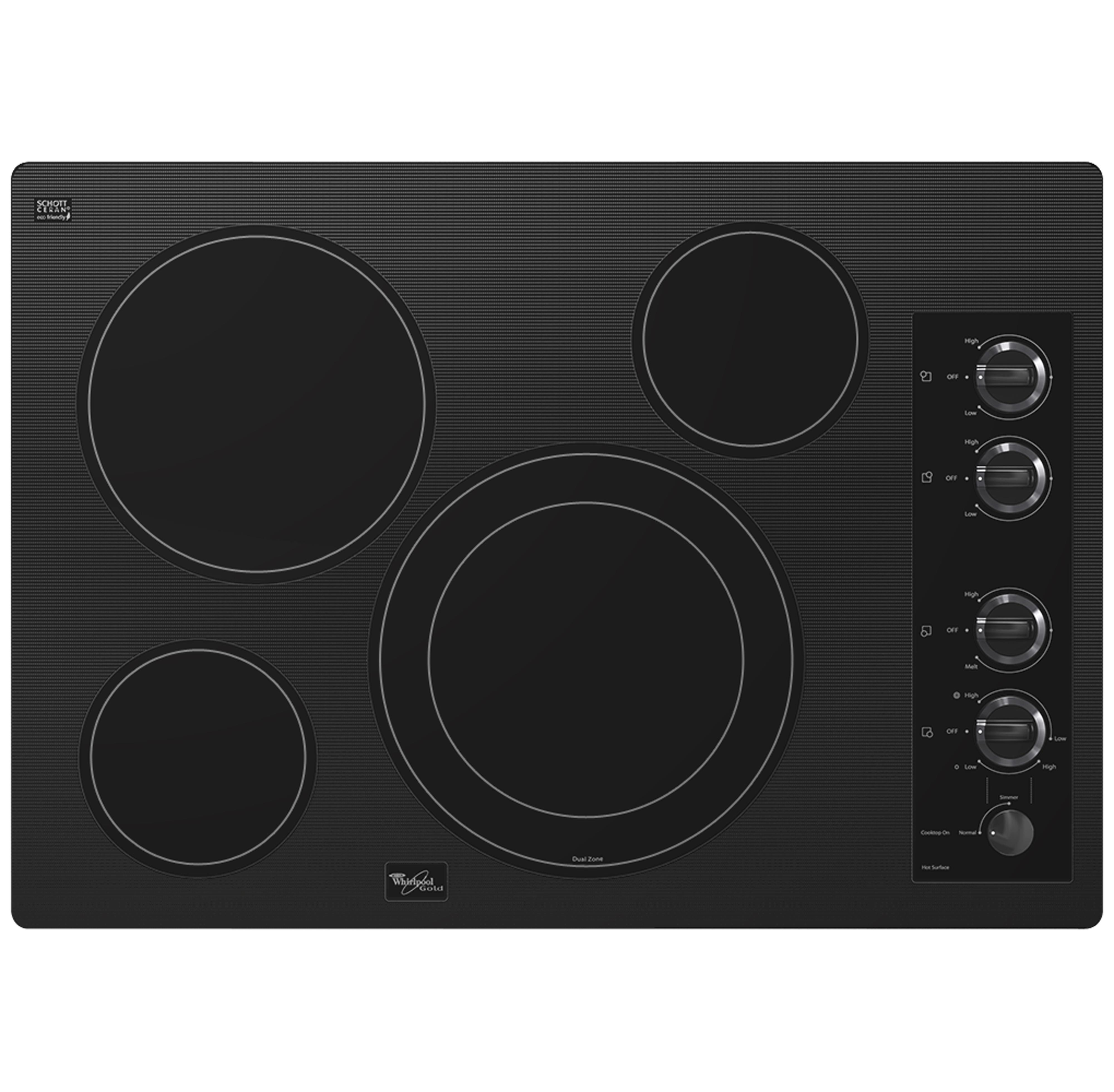 """Whirlpool Electric Cooktops 30"""" Built-In Electric Cooktop - Item Number: G7CE3034XB"""